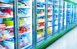 Refrigeration section in grocery store