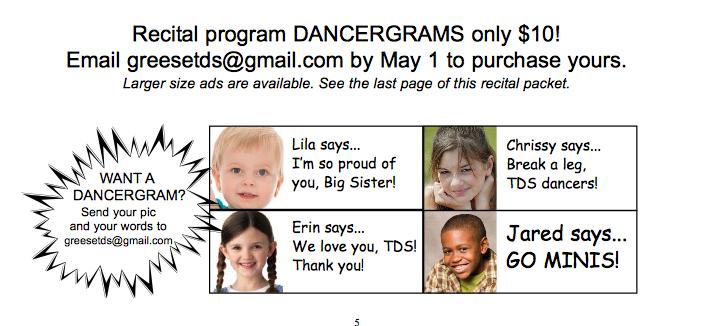Dancergrams in the Recital Program