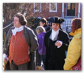 Asking questions after the Patrick Henry reenactment.