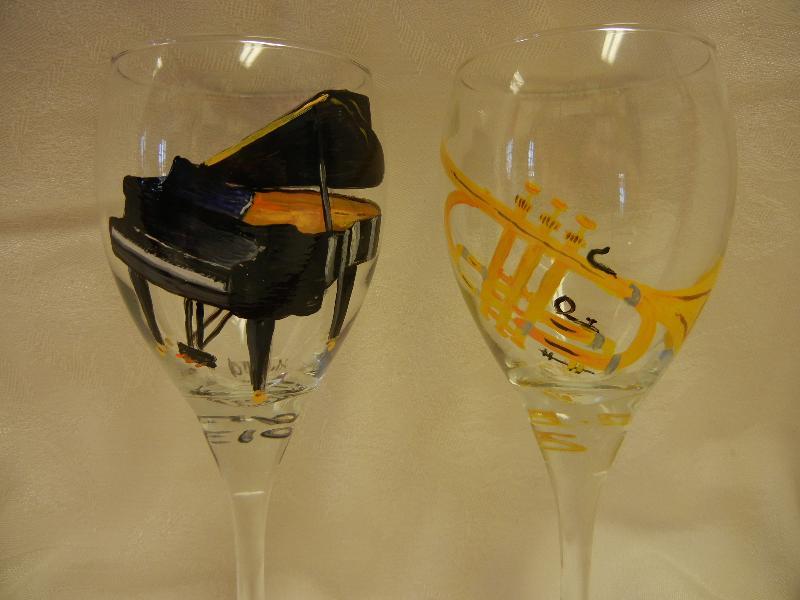 Piano and Trumpet Wine GLasses