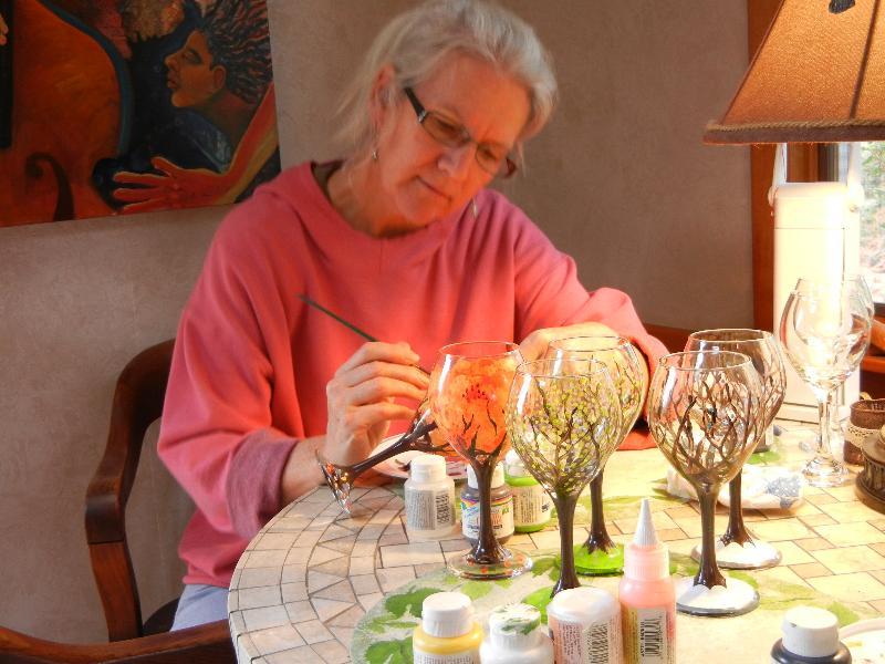 Melinda Painting Tree Wine Glasses