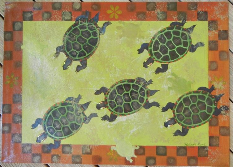 Five Painted Turtles Floorcloth 26