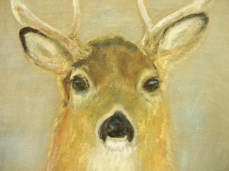 Deer Handpainted on a T-shirt