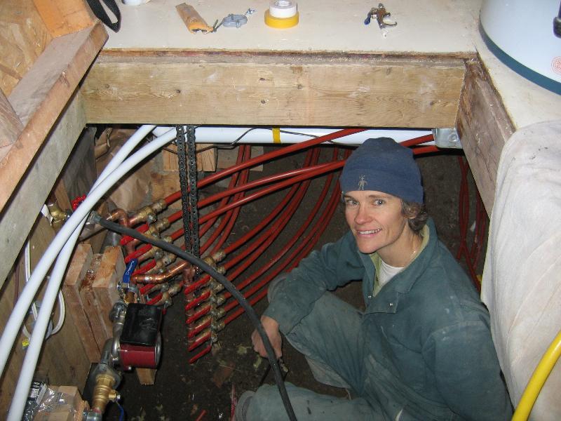 Sara with heating manifold