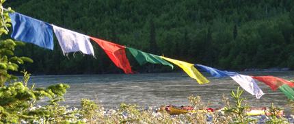 prayer flags on the Nahanni