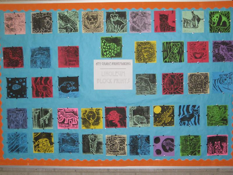 8th grade Lino prints
