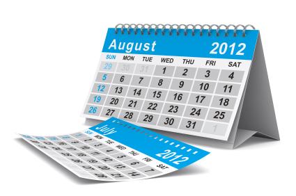 july/August Calendar
