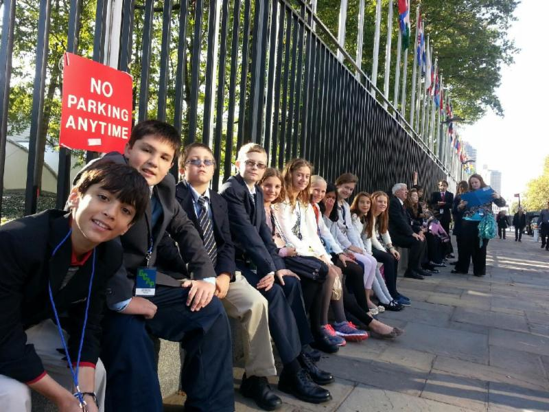 sixth-graders outside United Nations