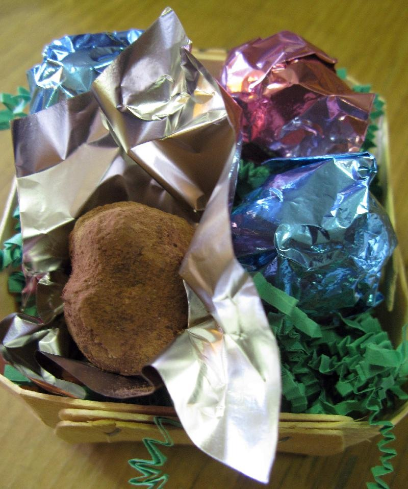 Basket of Hazelnut Ginger Chocolate Truffles