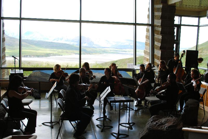 FSAF 2012 orchestra outreach at Denali Park Eielson Visitor's Center with local student choir. Photo courtesy Terese Kaptur.