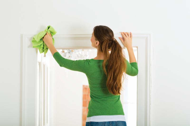 woman dusting her house