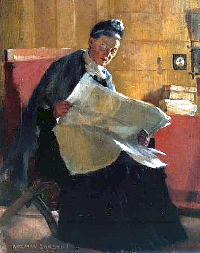 woman reading paper painting