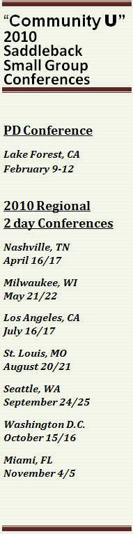 2010 Saddleback Small Group Schedule