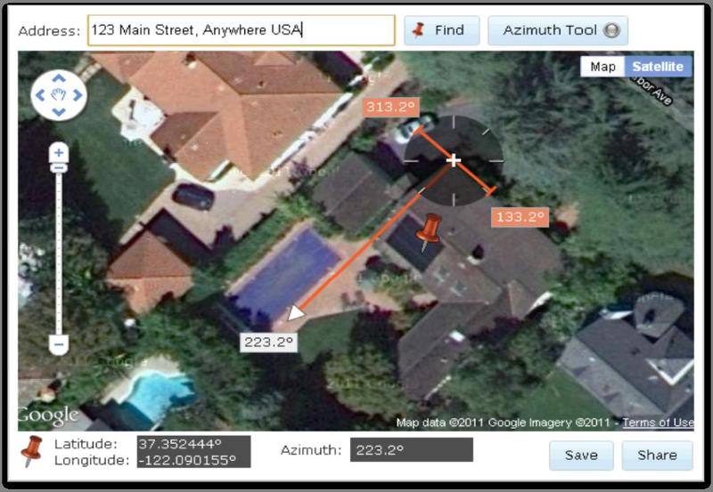 Example Roof Azimuth Tool Screen