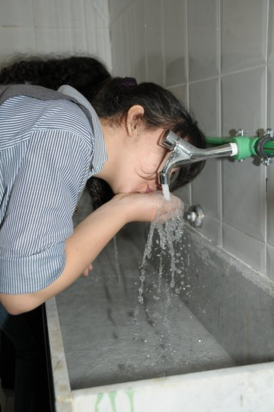 Student drinking water