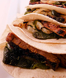 Grilled Skirt Steak Tacos with Roasted Poblano Rajas