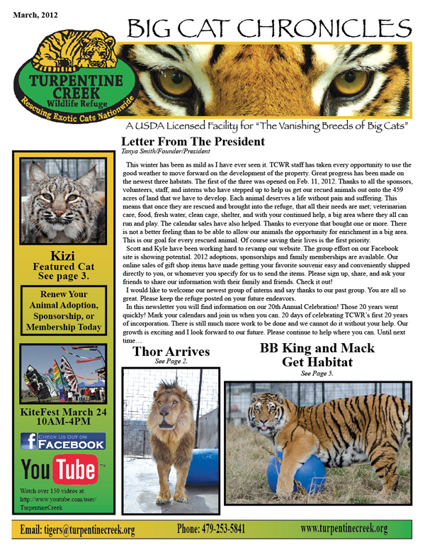 March, 2012 Newsletter