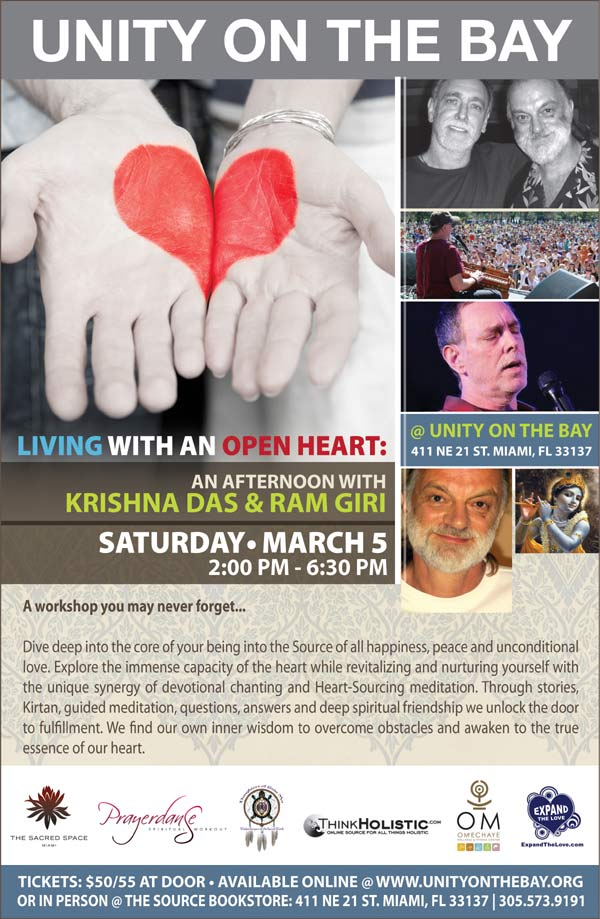 Living with an Open Heart: An Afternoon Workshop with Krishna Das and Ram Giri at Unity on the Bay Miami