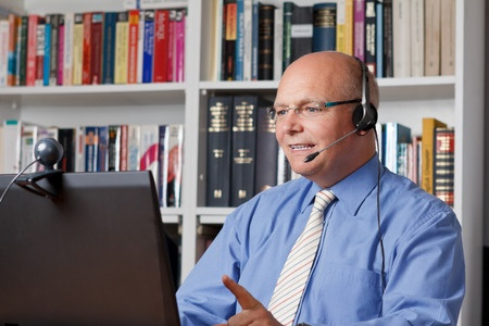 Man headphones and computer