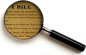 Magnifying glass on word bill