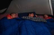 sleeping in tent