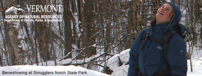 snowshoeing at smugglers notch