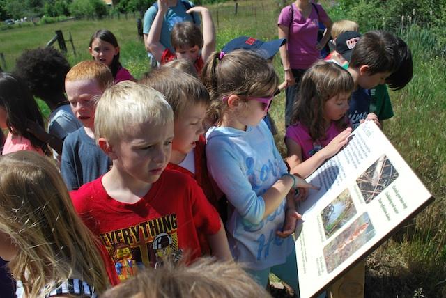 Children reading interpretive signs