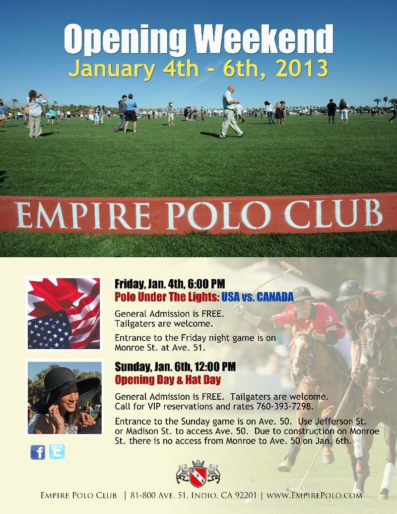 Empire Kicks Off Opening Weekend with CANADA vs. USA Polo Match