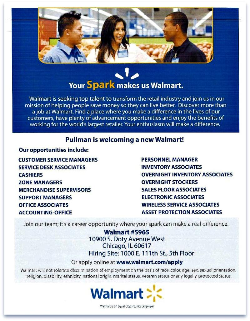 as alderman of the 9th ward im proud to announce the fall opening of the pullman park walmart supercenter approximately 400 jobs will be available when - Walmart Overnight Jobs