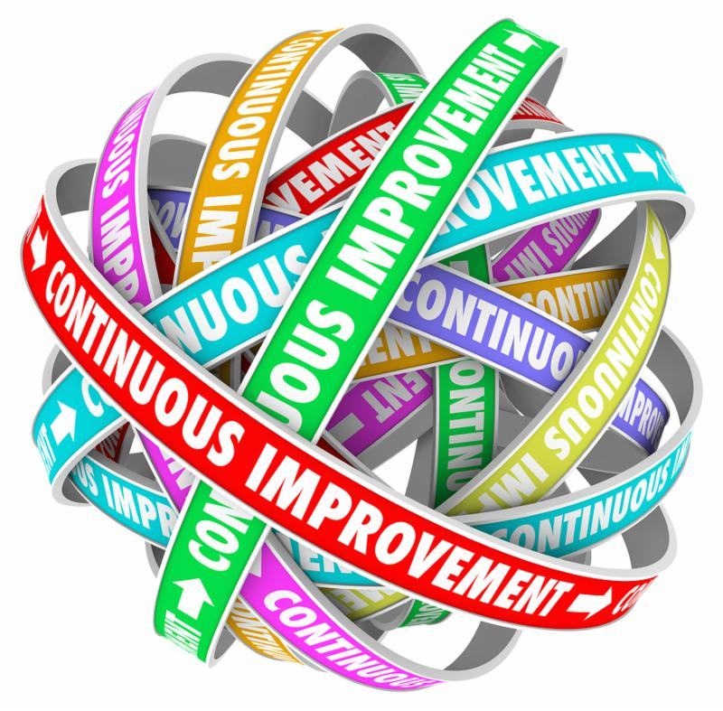 The words Continuous Improvement on circular ribbons in an everlasting pattern to illustrate everlasting change and innovation to better yourself, company or organization