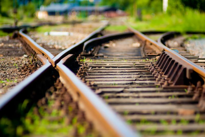 Abstract soft-focus view of a railroad turnout