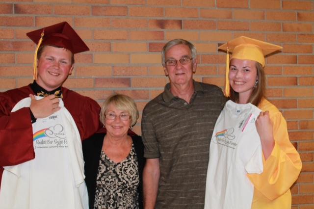 Scholarship recipients with Susie and Frank Miklaski