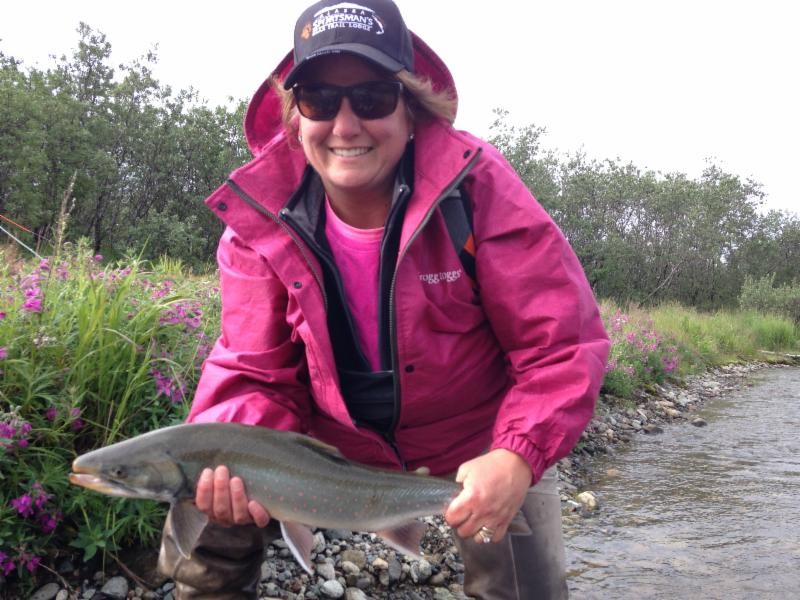 Paula with a Dolly Varden Trout