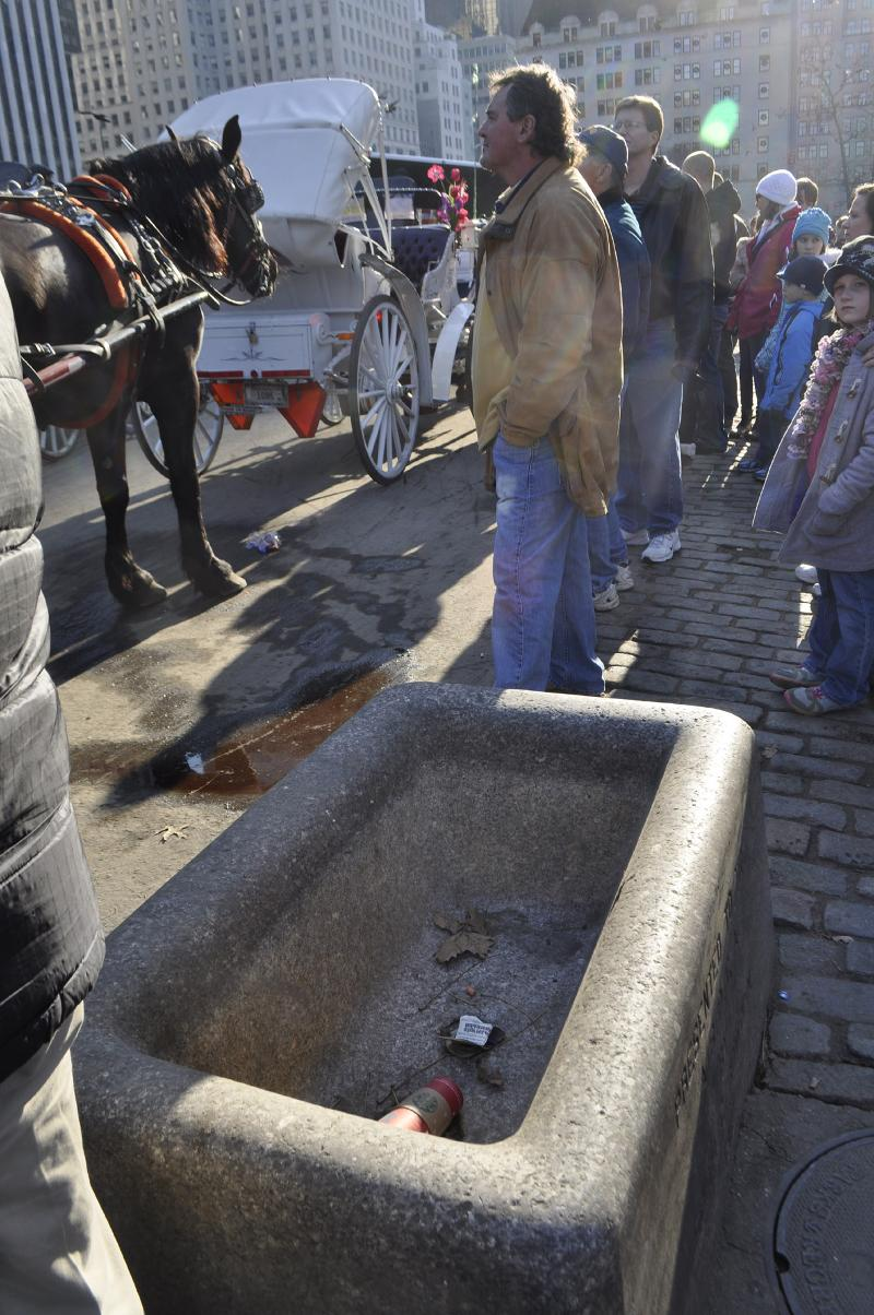 empty trough with crowd