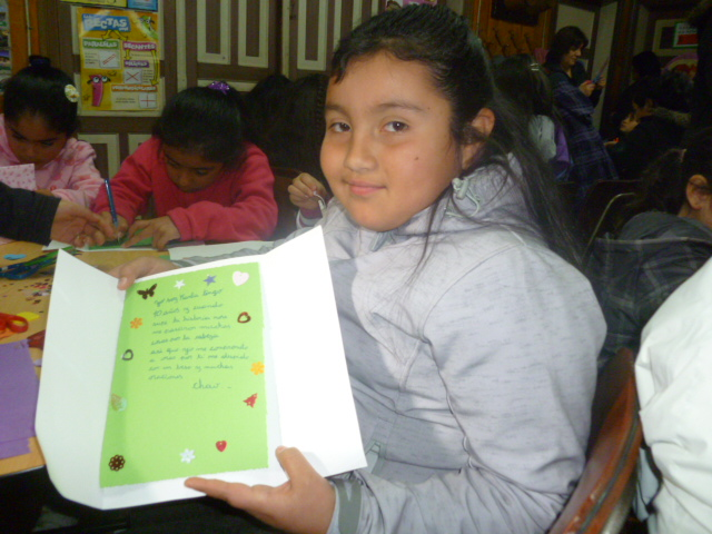 a girl with her letter to India