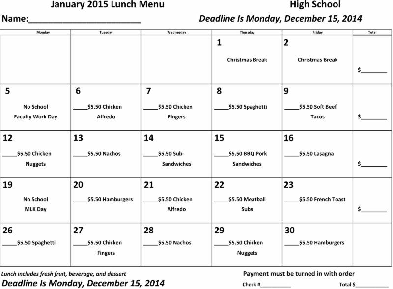 January 2015 Lunch Orders are due Monday, December 15th.
