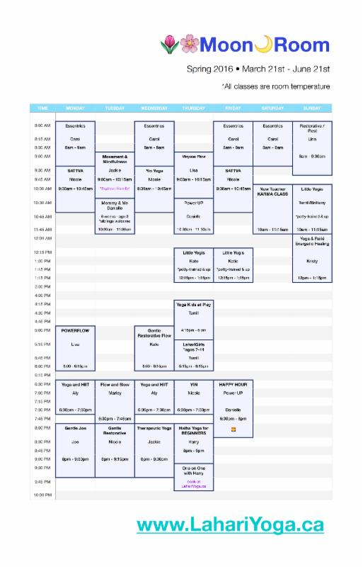 Moon Room Schedule
