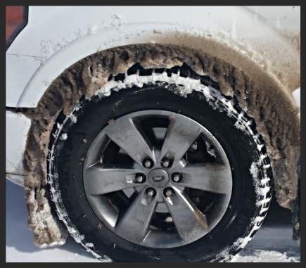 Snow packed wheel well