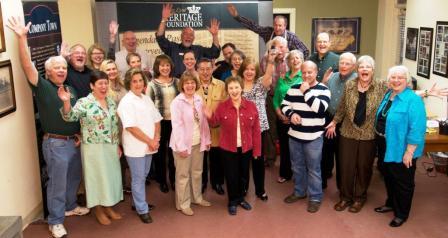Volunteer party hands up