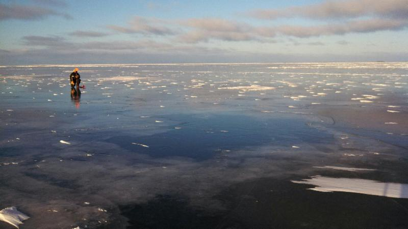 The lake is frozen for Lake of the woods ice fishing