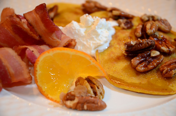 Pumpkin Pancakes w/Carmelized Pecans, Whipped Cream and Ginger Syrup
