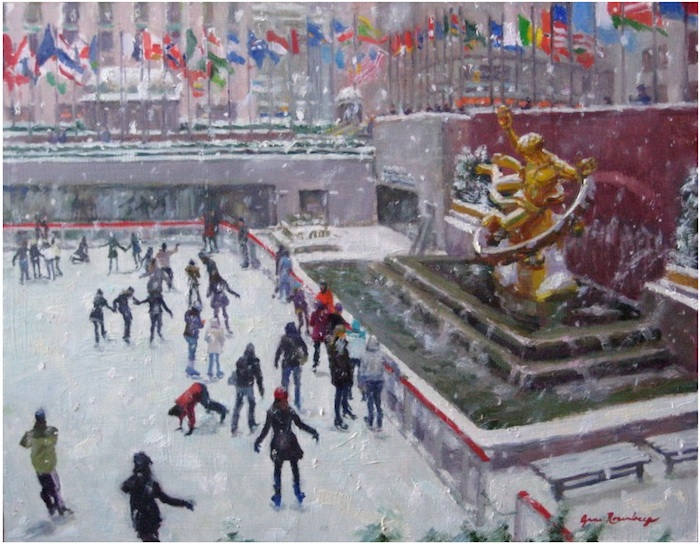 Snowy Day Skaters at Rockefeller Center