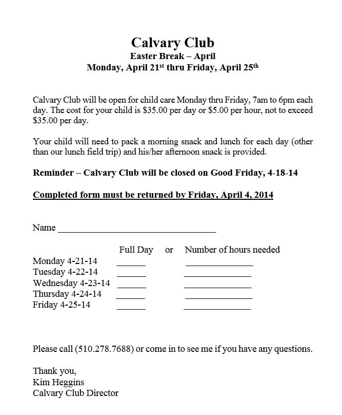 Calvary Club Easter Break Sign Up 2014