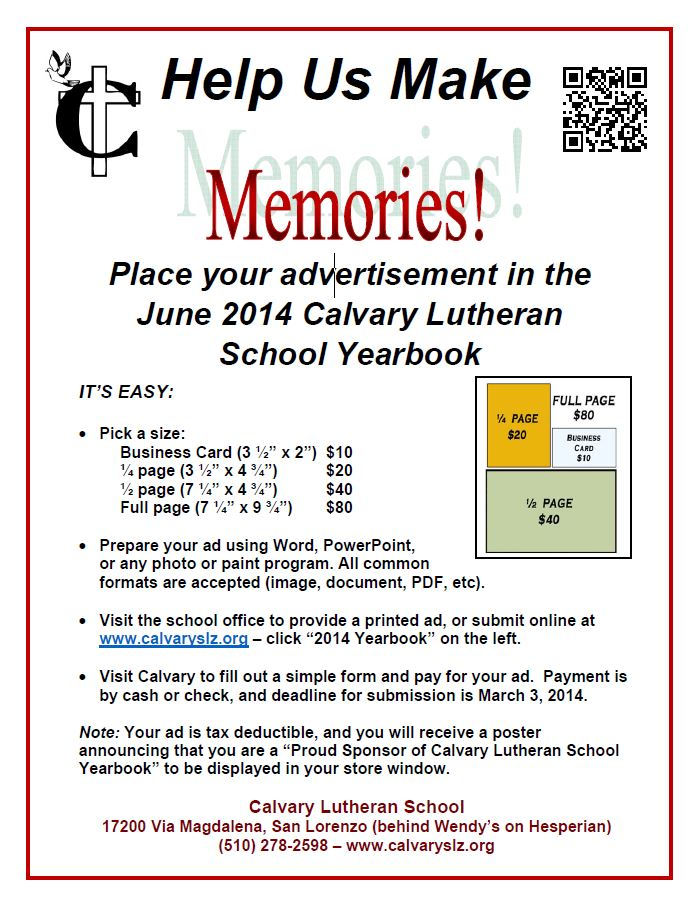 Advertise in the Yearbook