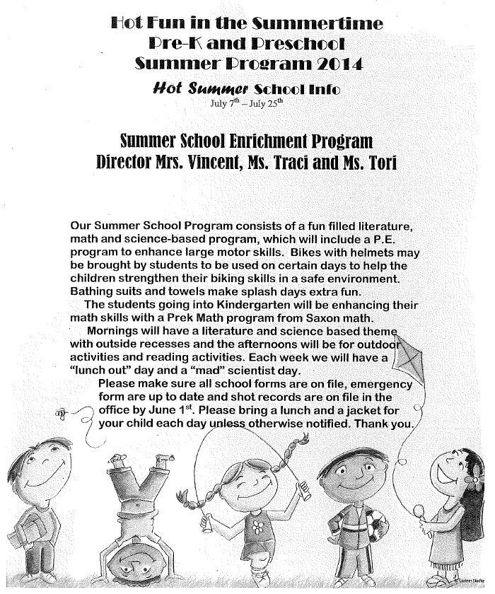 Preschool Summer School Info