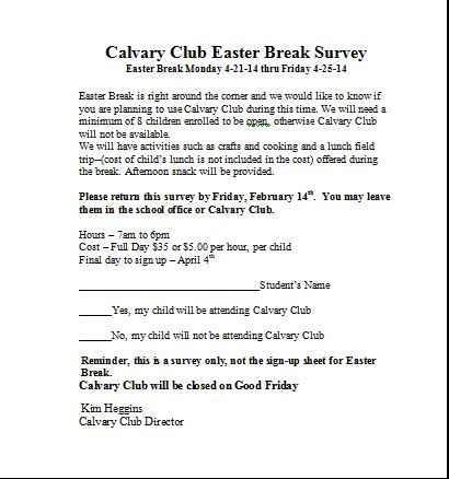 Calvary Club Easter Break Survey