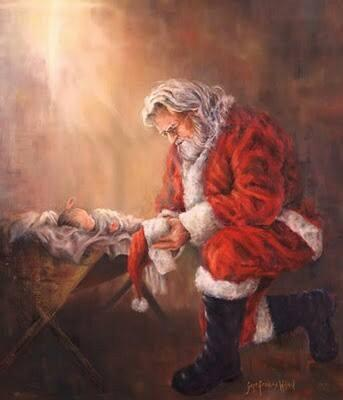 Santa kneeling at the feet of Jesus