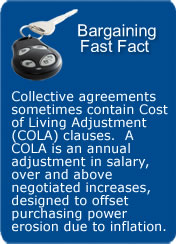 COLA clauses - offset erosion of buying power caused by inflation.