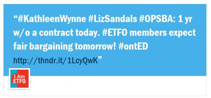#KathleenWynne #LizSandals #OPSBA: 1 yr w/o a contract today. #ETFO members expect fair bargaining tomorrow! #ontED
