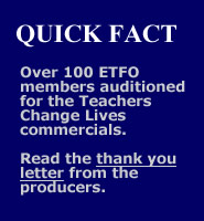 Over 100 ETFO members auditioned - read the thank you note